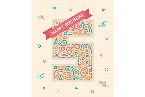 Happy birthday number 5 Greeting card for five year