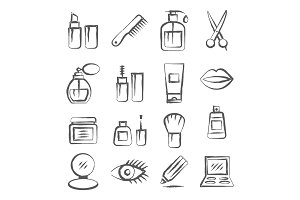 Cosmetics Doodle Icons