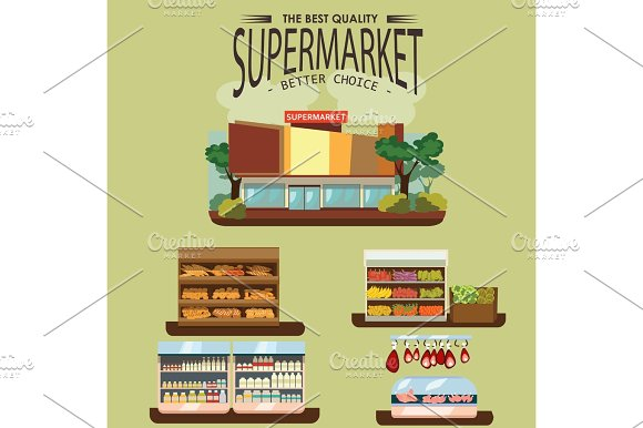 Set Of Supermarket Departments Fruit And Milk Food Store Grocery Row With Vegetable Products On Shelfs In Market Bread Bakery Shop Interior Vector Illustration Meat And Sausage In Refrigerator