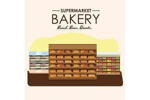 bakery shelf with bread in supermarket, big choice of fresh products sale in food shop interior, store vector illustration
