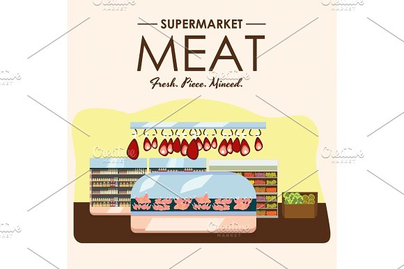 Meat Department Pork Shelf With Fresh Beef And Steak Food In Supermarket Fridge Big Choice Of Organic Farm Products Sale In Food Shop Interior Store With Sausage Vector Illustration