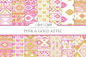 Pink & Gold Boho Seamless Patterns