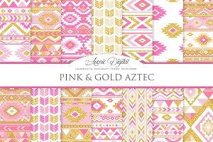 Pink & Gold Boho Seamless Patterns