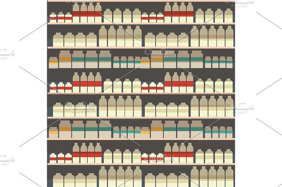 Seamless Pattern Of Dairy Department Milk Shelf With Fresh Healthy Food In Supermarket Big Choice Of Organic Farm Products Sale In Food Shop Yogurt Background Vector Illustration
