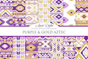 Purple & Gold Boho Seamless Pattern
