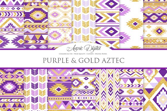 Purple Gold Boho Seamless Pattern