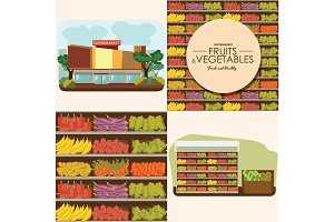 fruit and vegetables shelf with fresh healthy food in supermarket, big choice of organic products sale in food shop interior, store vector illustration