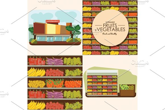 Fruit And Vegetables Shelf With Fresh Healthy Food In Supermarket Big Choice Of Organic Products Sale In Food Shop Interior Store Vector Illustration