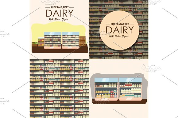 Dairy Department Milk Shelf With Fresh Healthy Food In Supermarket Big Choice Of Organic Farm Products Sale In Food Shop Interior Store With Yogurt And Cheese Vector Illustration
