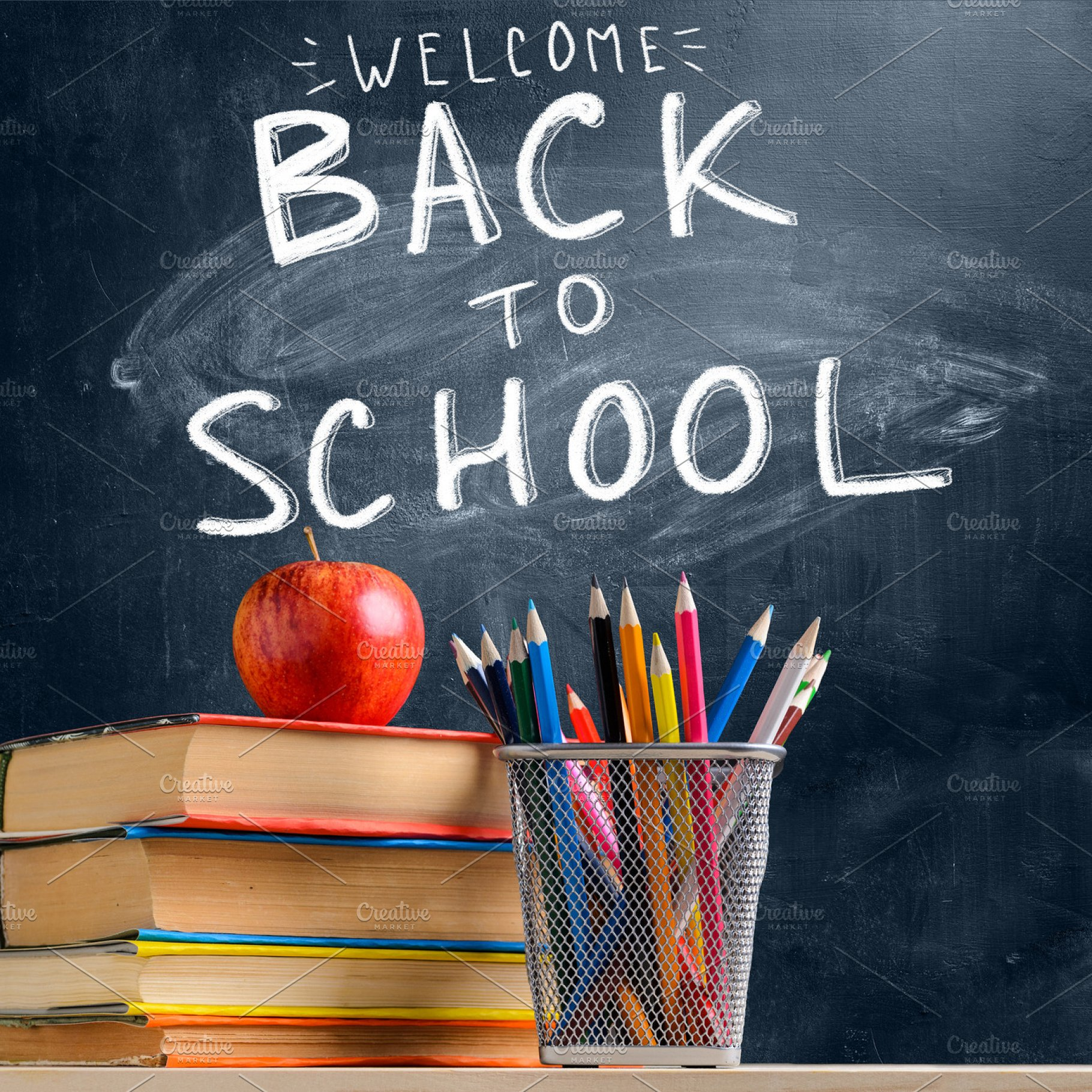 Image result for blackboard apple and back to school