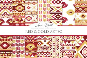 Red & Gold Boho Seamless Pattern