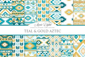 Teal & Gold Boho Seamless Pattern