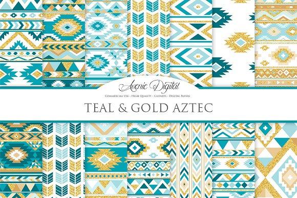 Teal Gold Boho Seamless Pattern