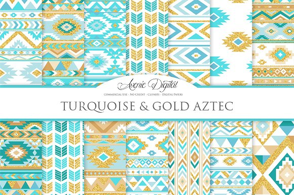 Turquoise & Gold Boho Repeat Pattern