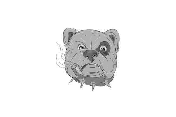 Angry Bulldog Smoking Corn Cob Pipe