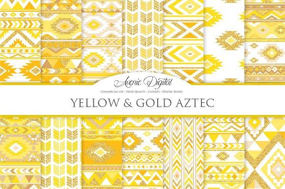 Yellow Gold Boho Seamless Pattern