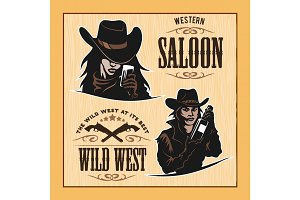 Set of Hipster Vintage Labels, Logotypes, Badges for Your Business. Wild West Theme.