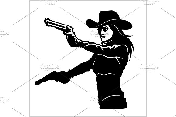 Western Girl With Revolver