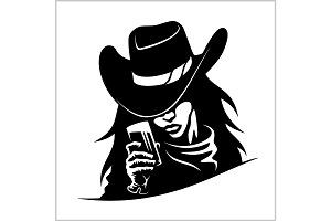 Beautiful cowgirl woman with glass