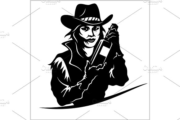 Cowgirl With Bottle Tequila Vector Picture
