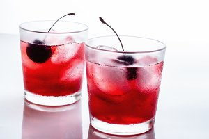 red drink in a glass