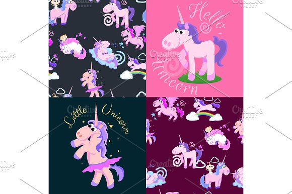Cute Unicorn Seamless Pattern Magic Pegasus Flying With Wing And Horn On Rainbow Fantasy Horse Vector Illustration Myth Creature Dreaming Background