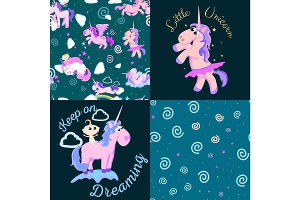 cute unicorn seamless pattern, magi…