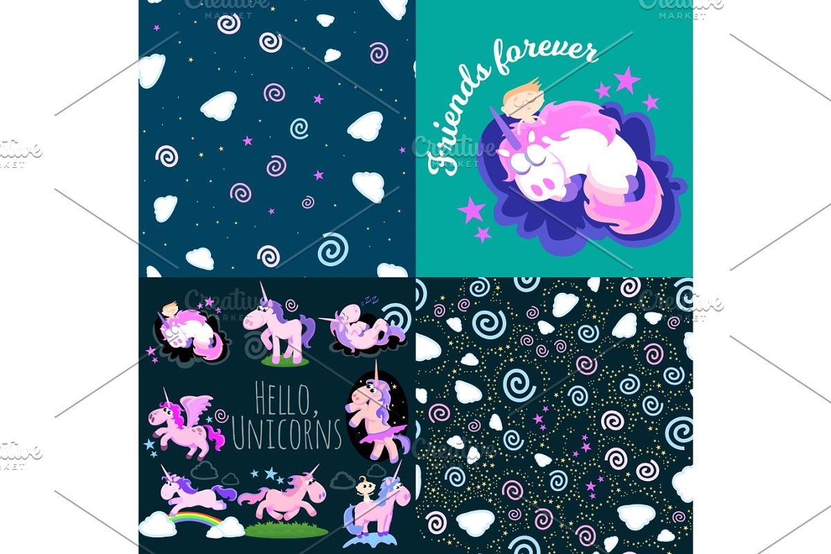 Cute Unicorn Seamless Pattern Magic Pegasus Flying With Wing And Horn On Rainbow Fantasy Horse Vector Illustration Myth Creature Dreaming
