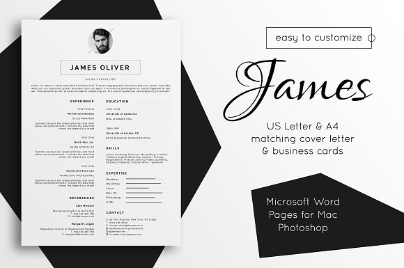 Resume Template Cover Letter James