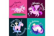 cute unicorn isolated set, magic pegasus flying with wing and horn on rainbow, fantasy horse vector illustration, myth creature dreaming on colored background, greeting card text template