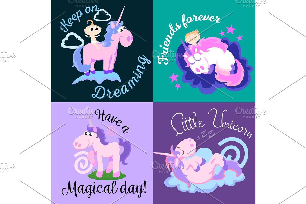 cute unicorn isolated set, magic pegasus flying with wing and horn on rainbow, fantasy horse vector illustration, myth creature dreaming on colored background, greeting card text template in Illustrations - product preview 8