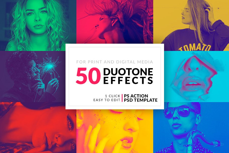 50 Duotone Photoshop Actions ~ Photoshop Add-Ons ~ Creative Market