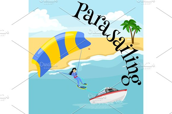 Parasailing Water Extreme Sports Backgrounds Isolated Design Elements For Summer Vacation Activity Fun Concept Cartoon Wave Surfing Sea Beach Vector Illustration Active Lifestyle Adventure