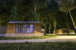 Wooden bungalow in camping