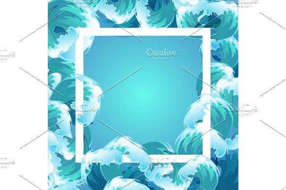 Sea Blue Water Wave Frame Ocean Border Background Design Element For Banner Or Greeting Card Decoration Vector Illustration
