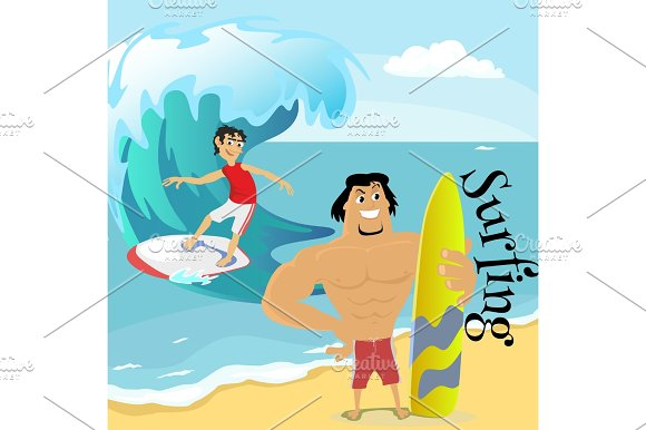 Surfing Water Extreme Sports Isolated Design Element For Summer Vacation Activity Concept Cartoon Wave Surfing Sea Beach Vector Illustration Active Lifestyle Adventure