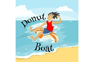 inflatable watercraft banana boat water extreme sports, isolated design element for summer vacation activity concept, cartoon wave surfing, sea beach vector illustration, active lifestyle adventure