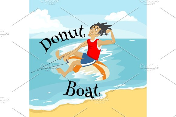 Inflatable Watercraft Banana Boat Water Extreme Sports Isolated Design Element For Summer Vacation Activity Concept Cartoon Wave Surfing Sea Beach Vector Illustration Active Lifestyle Adventure