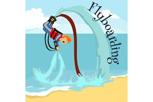 Fly board water extreme sports, isolated design element for summer vacation activity concept, cartoon wave surfing, sea beach vector illustration, active lifestyle adventure