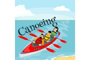 Canoeing water extreme sports, isolated design element for summer vacation activity concept, cartoon wave surfing, sea beach vector illustration, active lifestyle adventure