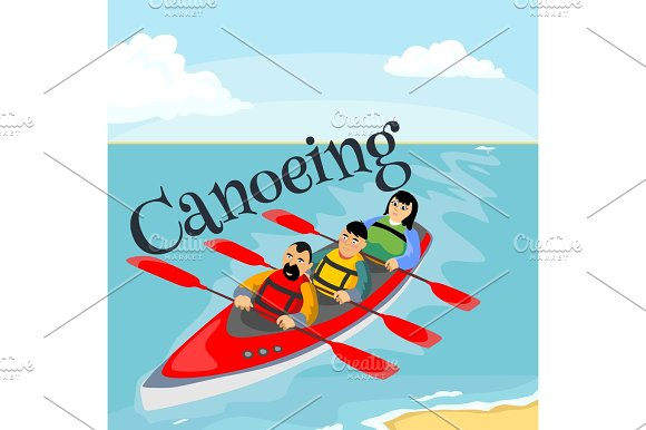 Canoeing Water Extreme Sports Isolated Design Element For Summer Vacation Activity Concept Cartoon Wave Surfing Sea Beach Vector Illustration Active Lifestyle Adventure