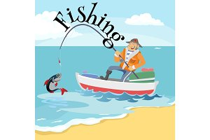 Flat fisherman hat sits on boat with trolling fishing rod in hand and catches bucket, Fishman crocheted spin into the sea waiting big fish funny vector illustration, Man active banner concept.
