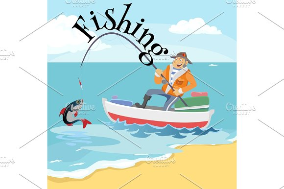 Flat Fisherman Hat Sits On Boat With Trolling Fishing Rod In Hand And Catches Bucket Fishman Crocheted Spin Into The Sea Waiting Big Fish Funny Vector Illustration Man Active Banner Concept