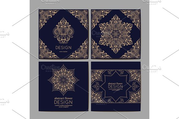 Cards Or Invitations With Mandala Pattern.Vector Vintage Hand-drawn Highly Detailed Round Mandala Elements Luxury Lace Festive Ornament Card Islam Arabic Indian Turkish Ottoman Pakistan Motifs