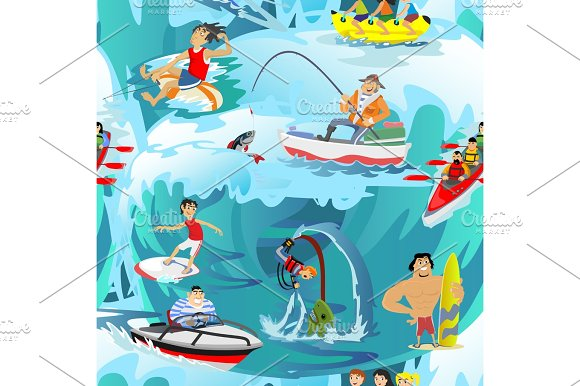 Water Extreme Sports Seamless Patterns Design Elements For Summer Vacation Activity Textile Cartoon Wave Surfing Sea Beach Vector Illustration Active Lifestyle Adventure