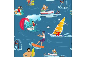 Water extreme sports seamless patterns, design elements for summer vacation activity textile, cartoon wave surfing, sea beach vector illustration, active lifestyle adventure