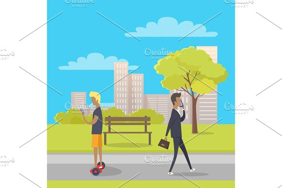 Stroll In City Park Flat Vector Illustration