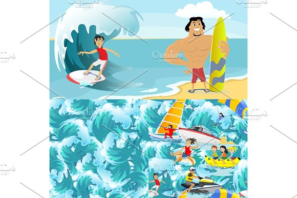 Set Of Water Extreme Sports Backgrounds Isolated Design Elements For Summer Vacation Activity Fun Concept Cartoon Wave Surfing Sea Beach Vector Illustration Active Lifestyle Adventure
