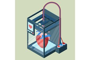 Creating artificial heart on three dimensional printer vector illustration