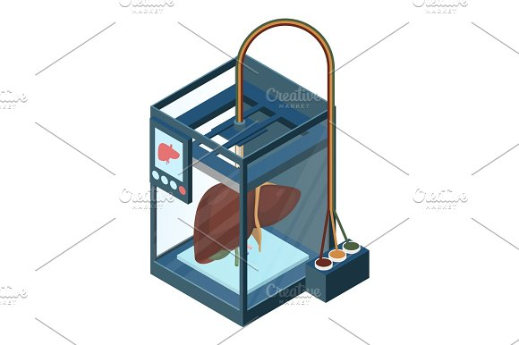 Creating Artificial Liver On Three Dimensional Printer Vector Illustration